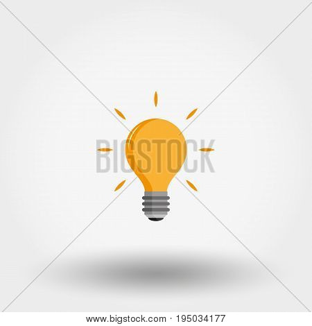 Light bulb. Exclamation point. Idea. Icon for web and mobile application. Vector illustration on a white background. Flat design style