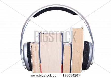 Headphones, Book and Audio Equipment concept composition