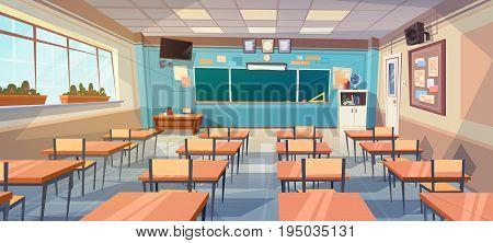 Empty School Class Room Interior Board Desk Flat Vector Illustration