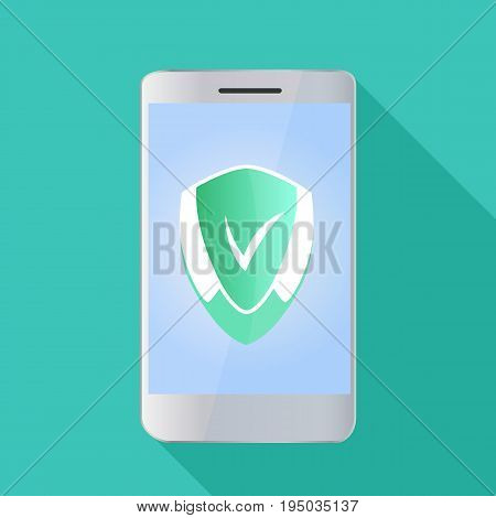 A smartphone with a shield on the screen in a flat style. Antivirus concept