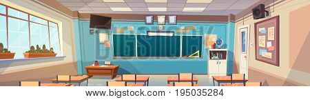 Empty School Class Room Interior Board Desk Horizontal Banner Flat Vector Illustration