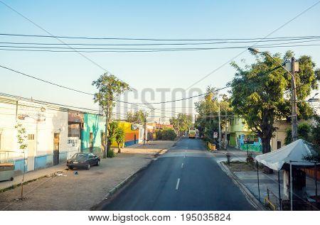 The Empty Street Of Barrio Estacion Central In Santiago, Chile