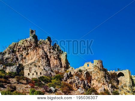Panorama view to Saint Hilarion Castle at Kirenia Northen Cyprus
