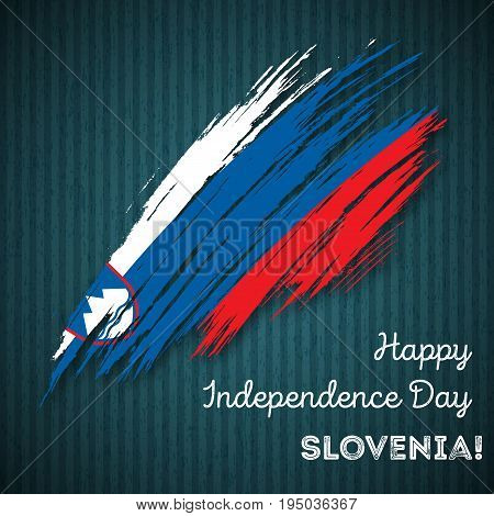 Slovenia Independence Day Patriotic Design. Expressive Brush Stroke In National Flag Colors On Dark