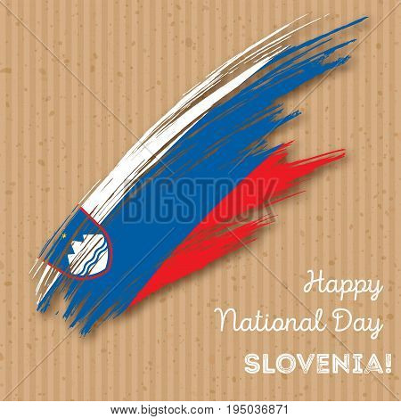 Slovenia Independence Day Patriotic Design. Expressive Brush Stroke In National Flag Colors On Kraft