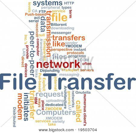 Background concept wordcloud illustration of file transfer poster