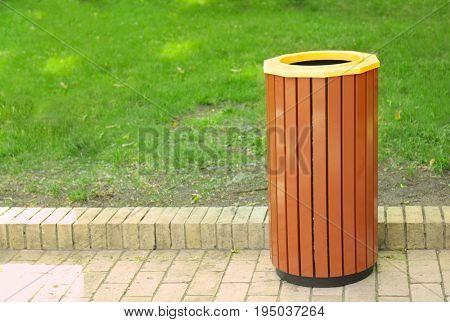 Litter bin outdoors in park