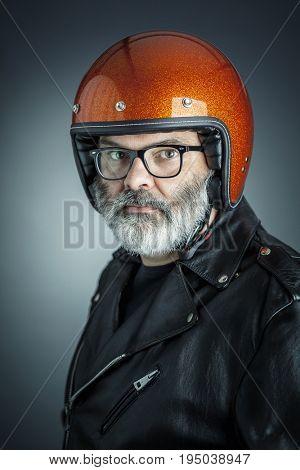 portrait of biker studio shot