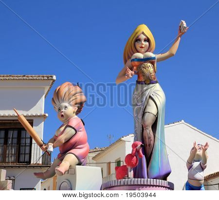 fallas from Valencia papier mache popular fest figures sculpture in Spain poster