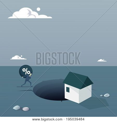 Business Man Chain Bound Paying Credit Debt For House Finance Crisis Concept Flat Vector Illustration