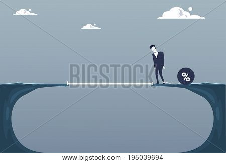 Business Man Chain Bound Legs Walking Over Cliff Gap Credit Debt Finance Crisis Concept Flat Vector Illustration