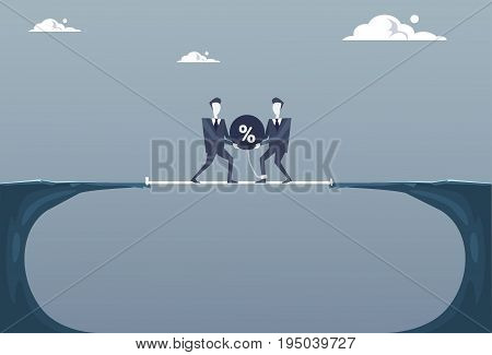 Two Business Man Throwing Percent Ball In Cliff Gap Credit Debt Finance Crisis Concept Flat Vector Illustration
