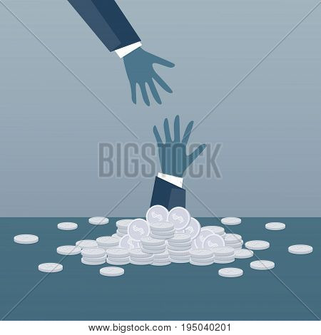 Business Hand Helping Businessman From Coin Heap Finance Fail Bankruptcy Crisis Concept Flat Vector Illustration