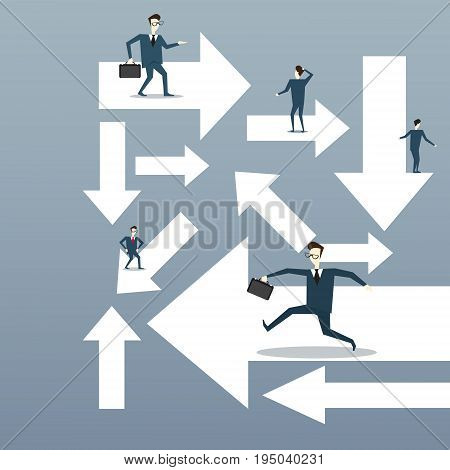 Businesspeople Running Arrows Business Direction Choosing Concept Flat Vector Illustration
