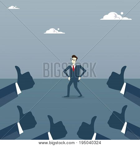 Group Of Business Hands Showing Thumb Up To Businessman Success Achievement Concept Flat Vector Illustration