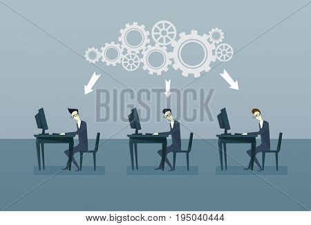 Business People Group Working On Computers Braistorming Cog Wheel Cooperation Concept Flat Vector Illustration