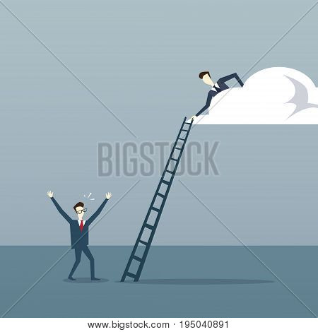 Businessman On Cloud Hold Ladder Stairs To Climb Up Team Cooperation Concept Flat Vector Illustration
