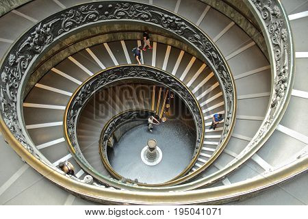 Spiral staircase at the Vatican from a high angle