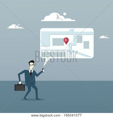 Business Man Searching For Destination On Digital City Map Gps Navigation Concept Flat Vector Illustration