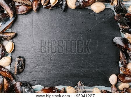 Fresh seafood. Mussels and clams over a stone background. Food frame.