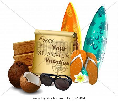old paper for your desighn with sunglasses wooden board and exotic beverage and cocnuts isolated vector
