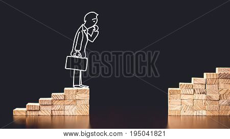 Career Planning Concept. Businessman Having Trouble To Go On The Way To Success.