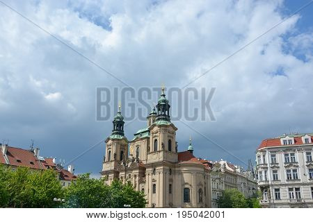 The St. Nicholas' Church At The Old Town Square In Prague, Czech Republic