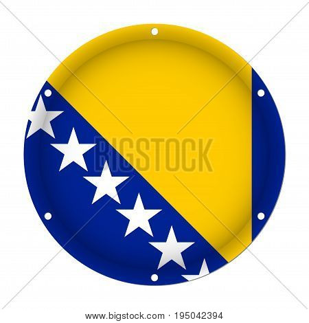 round metallic flag of Bosnia and Herzegovina with six screw holes in front of a white background