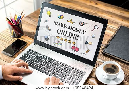 Make Money Online Concept With Various Hand Drawn Doodle Icons On Laptop Monitor