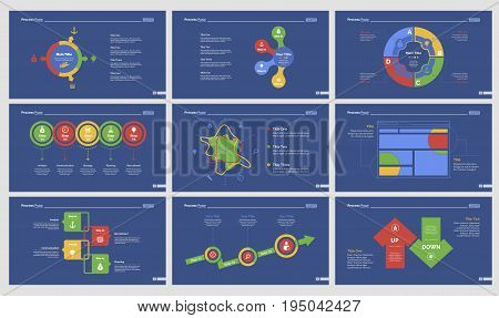Infographic design set can be used for workflow layout, diagram, annual report, presentation, web design. Business and teamwork concept with process and radar charts.