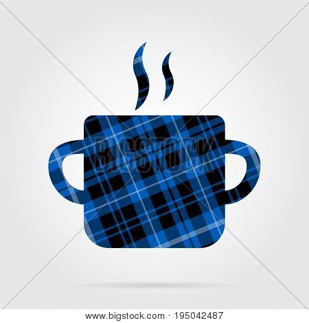 blue black isolated tartan icon with white stripes - cooking pot with smoke and shadow in front of a gray background
