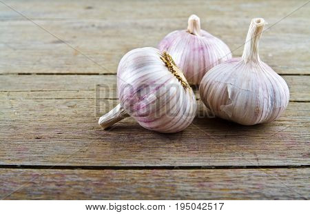 Garlic on wooden table. Pungent garlic on wooden background.