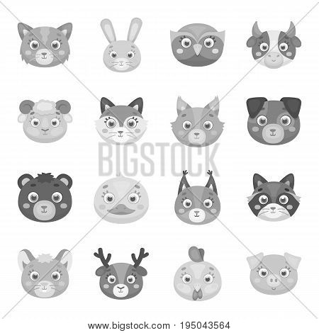 Animal muzzle set icons in monochrome design. Big collection of animal muzzle vector symbol stock illustration