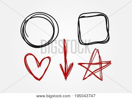 Set of doodle elements drawn by hand. Circle square heart arrow star. Sketch scribble. Black and red isolated symbols. Vector illustration.