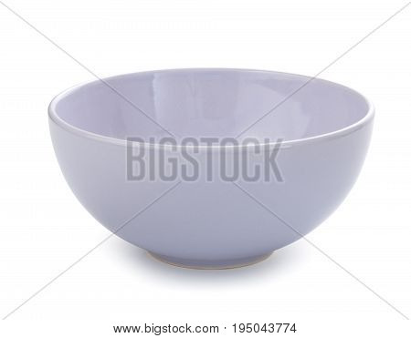 Empty Porcelain Bowl, Gentle Light Violet Tone, Isolated On White Background