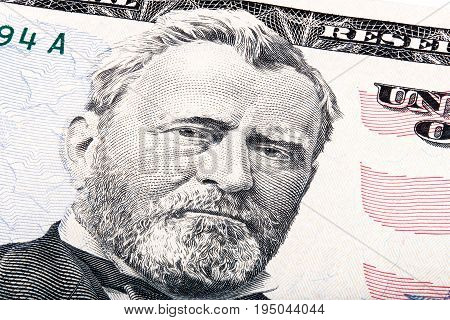 President Ulysses S. Grant from fifty dollar bill. Stacked photo.