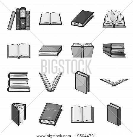 Books set icons in monochrome design. Big collection of books vector symbol stock illustration