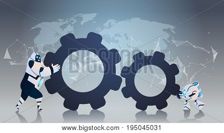 Modern Robots Pushing Cog Wheel Together Artificial Intelligence Technology Robotic Cooperation Concept Flat Vector Illustration