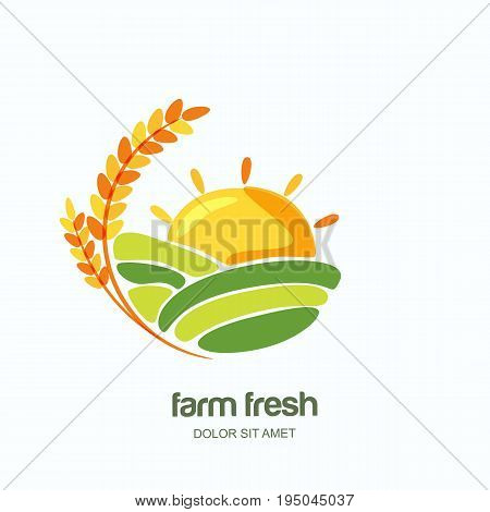 Farm And Farming Vector Logo, Label, Emblem Design. Isolated Illustration Of Wheat Fields, Farm Land