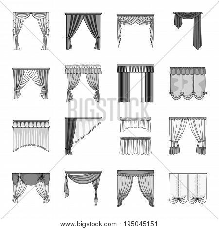 Fabric, textiles, interior and other curtains elements. Curtains set collection icons in monochrome style vector symbol stock illustration.