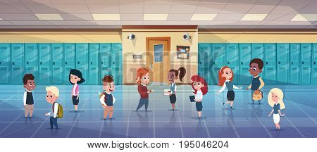 Group Of Schoolchildren In School Corridor Mix Race Pupils Over Row Of Lockers Flat Vector Illustration