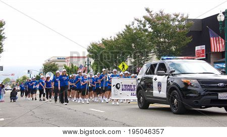 Alameda CA - July 04 2017: Lincoln Middle School Marching Band performing in the parade. The Alameda 4th of July Parade is one of the largest and longest Independence Day parade in the nation.