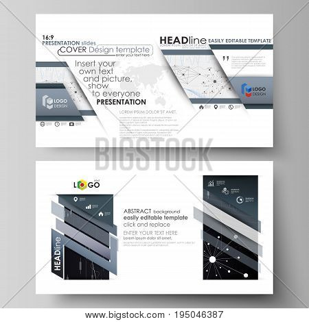 Business templates in HD format for presentation slides. Easy editable abstract vector layouts in flat design. Abstract infographic background in minimalist style made from lines, symbols, charts, diagrams and other elements.