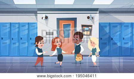 Group Of Schoolchildren In School Corridor Mix Race Pupils Over Row Of Lockers Flat Vector Illustration