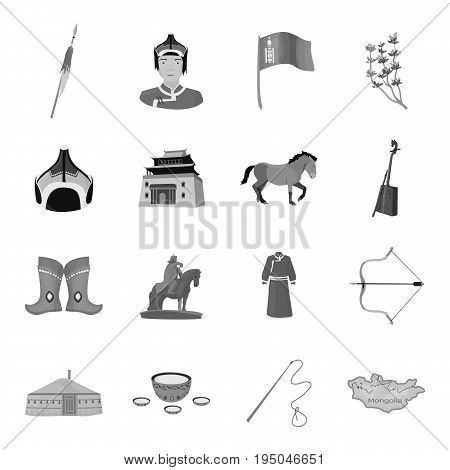 Excavator, jackhammer, helmet and other items for the mine. Mine set collection icons in monochrome style vector symbol stock illustration .