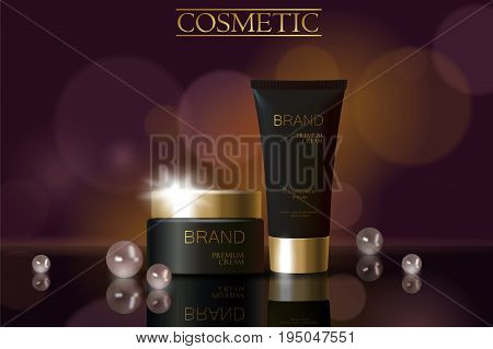 Black pearl cosmetic ad design template. Dark golden skin care package tube glass reflection. Purple blurry defocuced background promotional banner vector illustration art