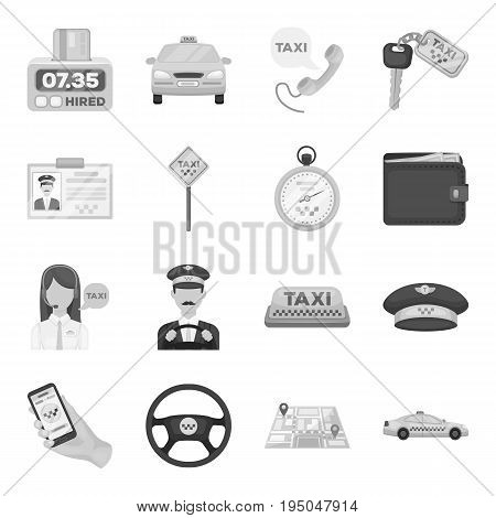 Parking, dispatcher, taxi driver are all for taxi service. Taxi set collection icons in monochrome style vector symbol stock illustration.