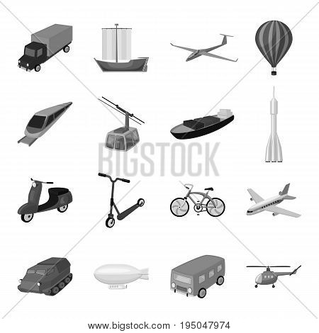 Yacht, funicular, metro transport for the transportation of passengers and cargo. Transport set collection icons in monochrome style vector symbol stock illustration .