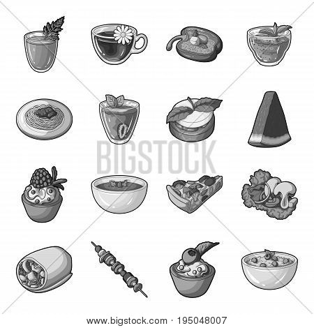 Juice, pizza, berries are vegetarian dishes.Vegetarian Dishes set collection icons in monochrome style vector symbol stock illustration .