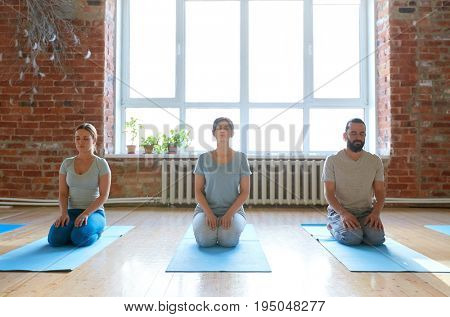 fitness, yoga and healthy lifestyle concept - group of people meditating in seated pose at studio